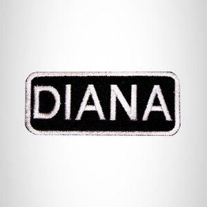 Diana White on Black Iron on Name Tag Patch for Biker Vest NB113