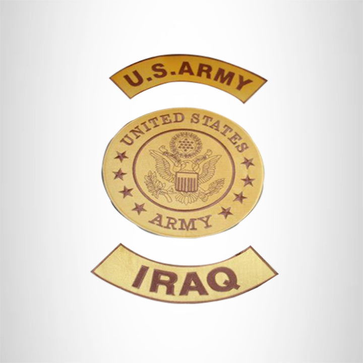 U.S ARMY IRAQ WAR Gold Iron on 3 Large Back Patches Set for Biker Vest Jacket