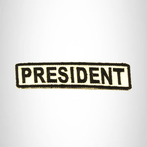 PRESIDENT Black on White Small Patch Iron on for Biker Vest SB678