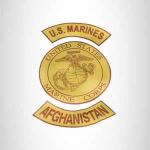 MARINES AFGHANISTAN Brown on Gold Iron on 3 Large Back Patches Set for Biker Vest Jacket