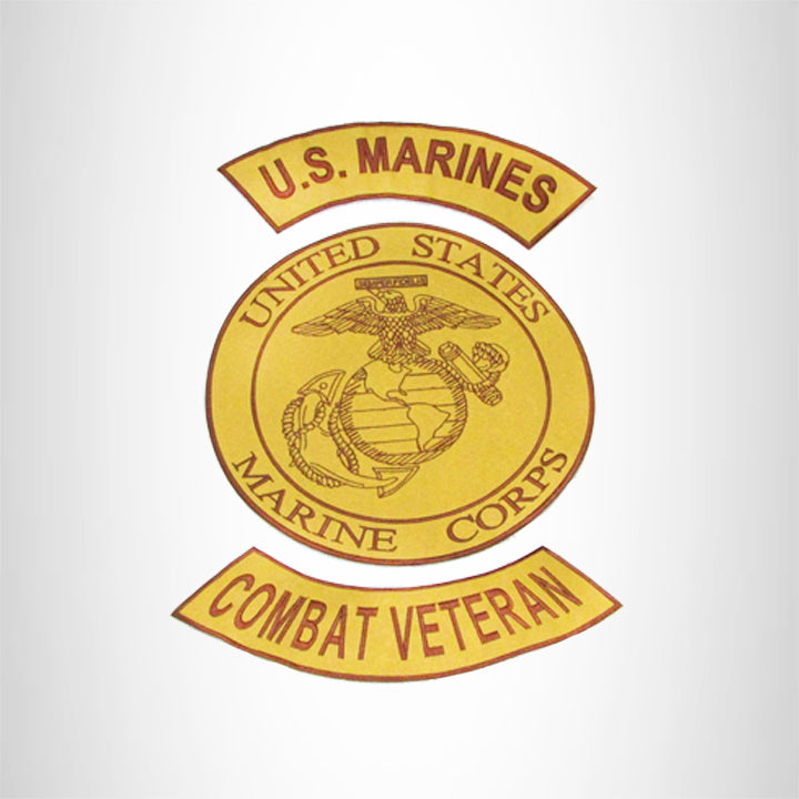 MARINES COMBAT VETERAN Brown on Gold Iron on 3 Large Back Patches Set for Biker Vest Jacket