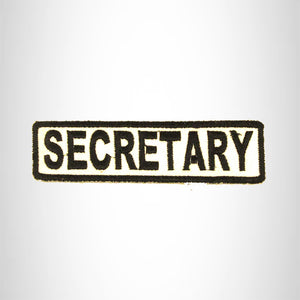SECRETARY Black on White Small Patch Iron on for Biker Vest SB681