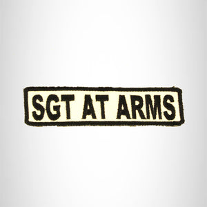 SGT AT ARMS Black on White Small Patch Iron on for Biker Vest SB686