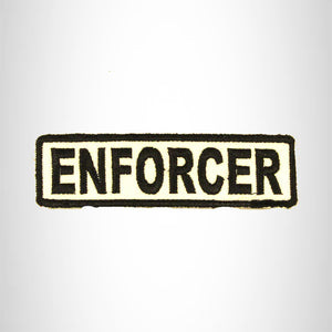 ENFORCER Black on White Small Patch Iron on for Biker Vest SB685