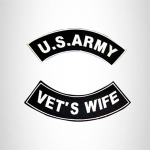 US ARMY VET'S WIFE VETERAN Iron on 2 Patches Set Sew on for Vest Jacket