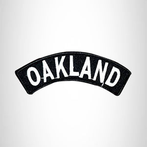 Oakland State White on Black Small Rocker Patch Front for Biker Jacket Vest