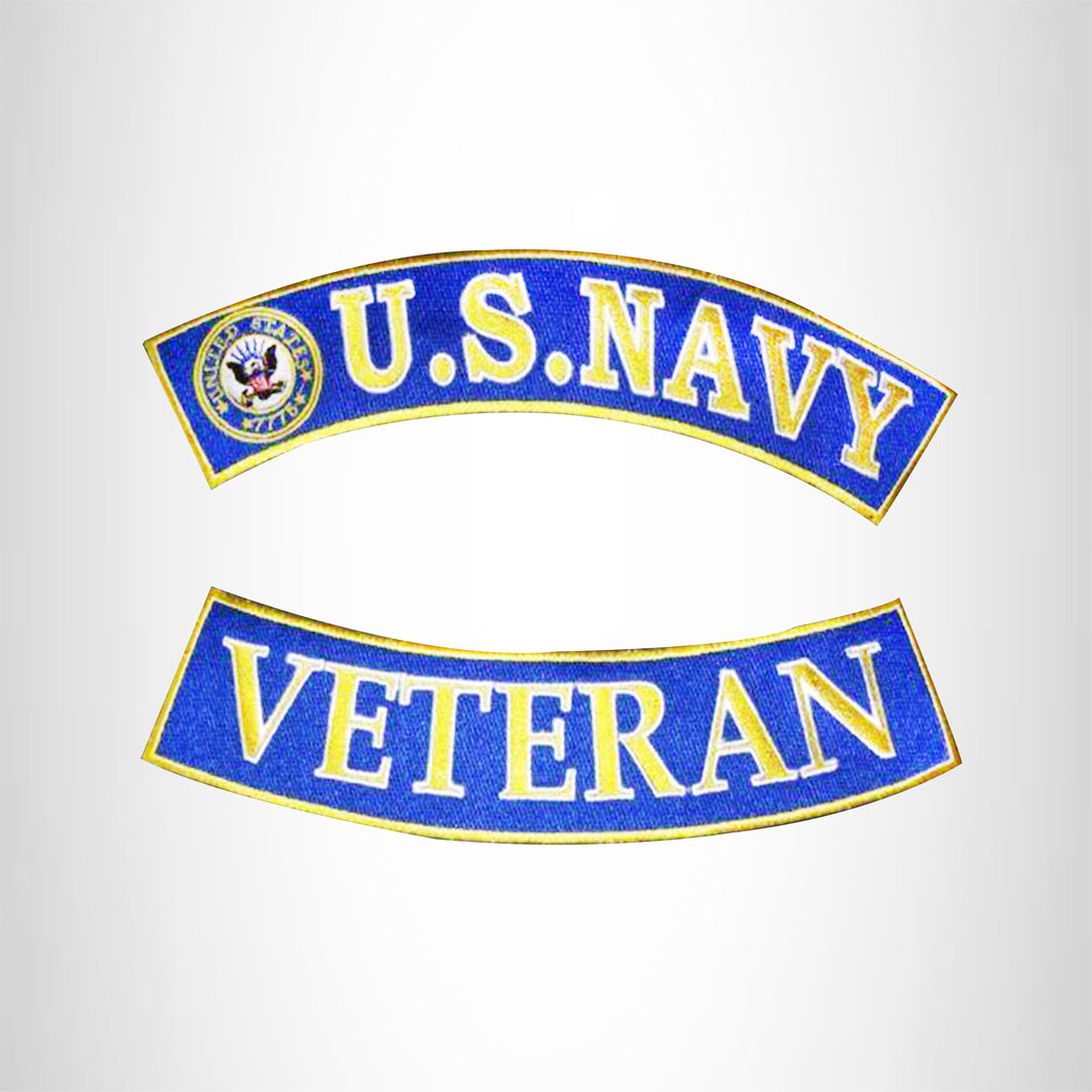 US Navy Veteran Back Rockers Patches Set Blue Top Bottom For Jacket vest New