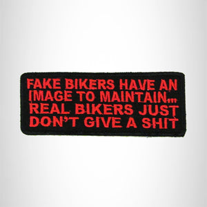 FAKE BIKERS Red on Black Small Patch Iron on for Biker Vest SB693
