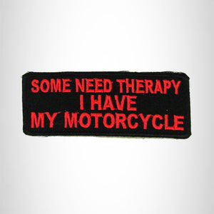 SOME NEED THERAPY Red on Black Small Patch Iron on for Biker Vest SB694