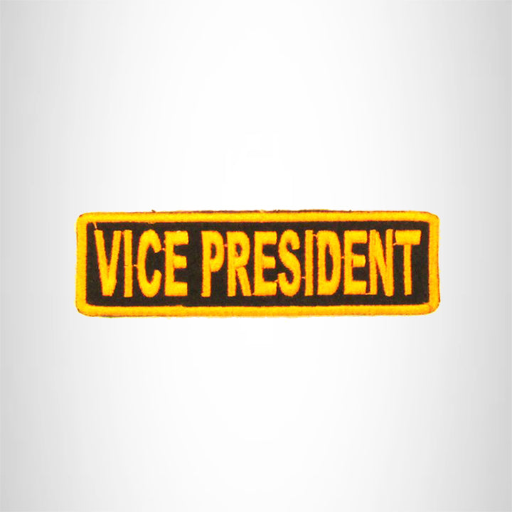 VICE PRESIDENT Orange on Black Small Patch Iron on for Biker Vest SB696