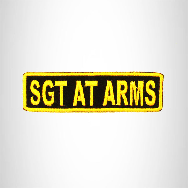 SGT AT ARMS Yellow on Black Small Patch Iron on for Biker Vest SB698
