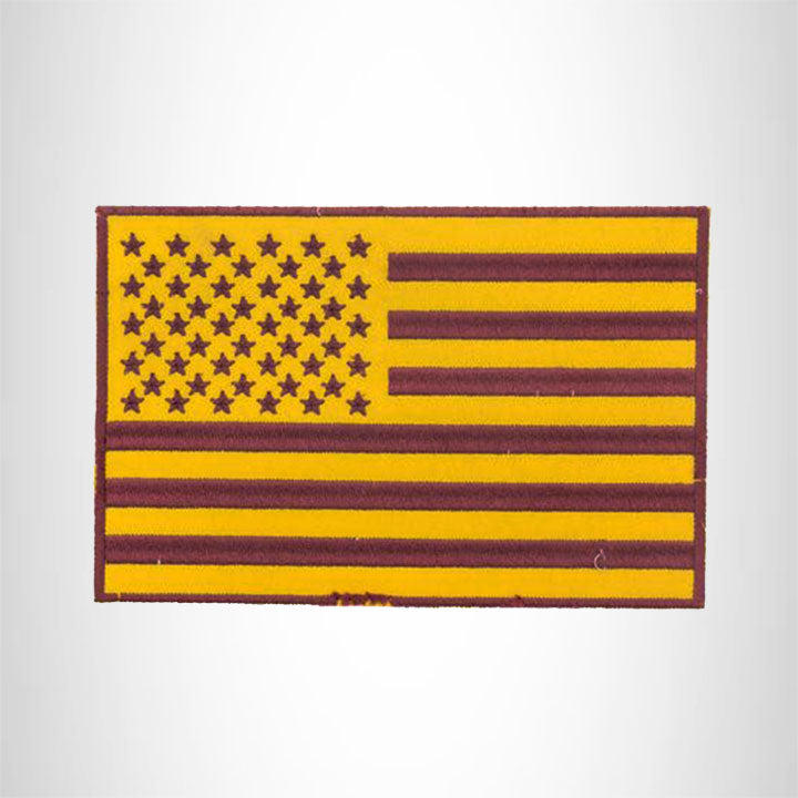 USA FLAG Yellow and Brown Iron on Center Patch for Biker Vest CP187