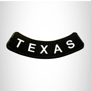 TEXAS White on Black Bottom Rocker Patch for Vest Jacket BR373