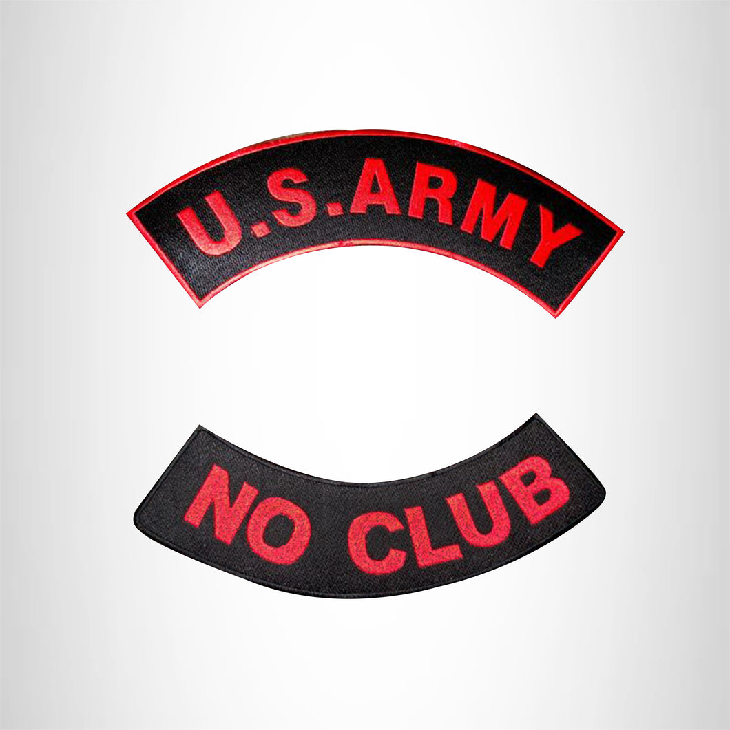 U.S. Army No Club Iron on 2 Patches Set Sew on for Vest Jacket