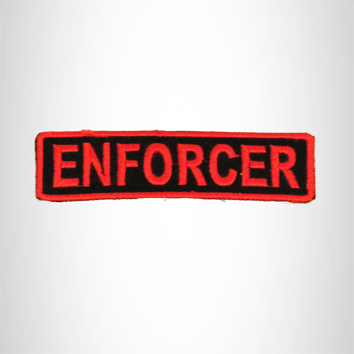 ENFORCER Red on Black Small Patch Iron on for Biker Vest SB701