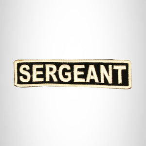 SERGEANT White on Black Small Patch Iron on for Biker Vest SB703