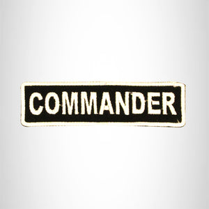 COMMANDER White on Black Small Patch Iron on for Biker Vest SB704