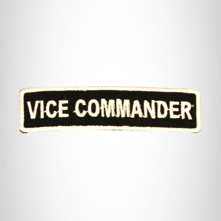 VICE COMMANDER White on Black Small Patch Iron on for Biker Vest SB705