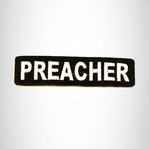 PREACHER White on Black Small Patch Iron on for Biker Vest SB708
