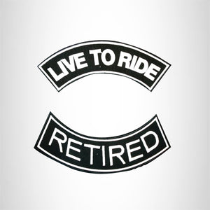 LIVE TO RIDE RETIRED Rocker 2 Patches Set Sew on for Vest Jacket