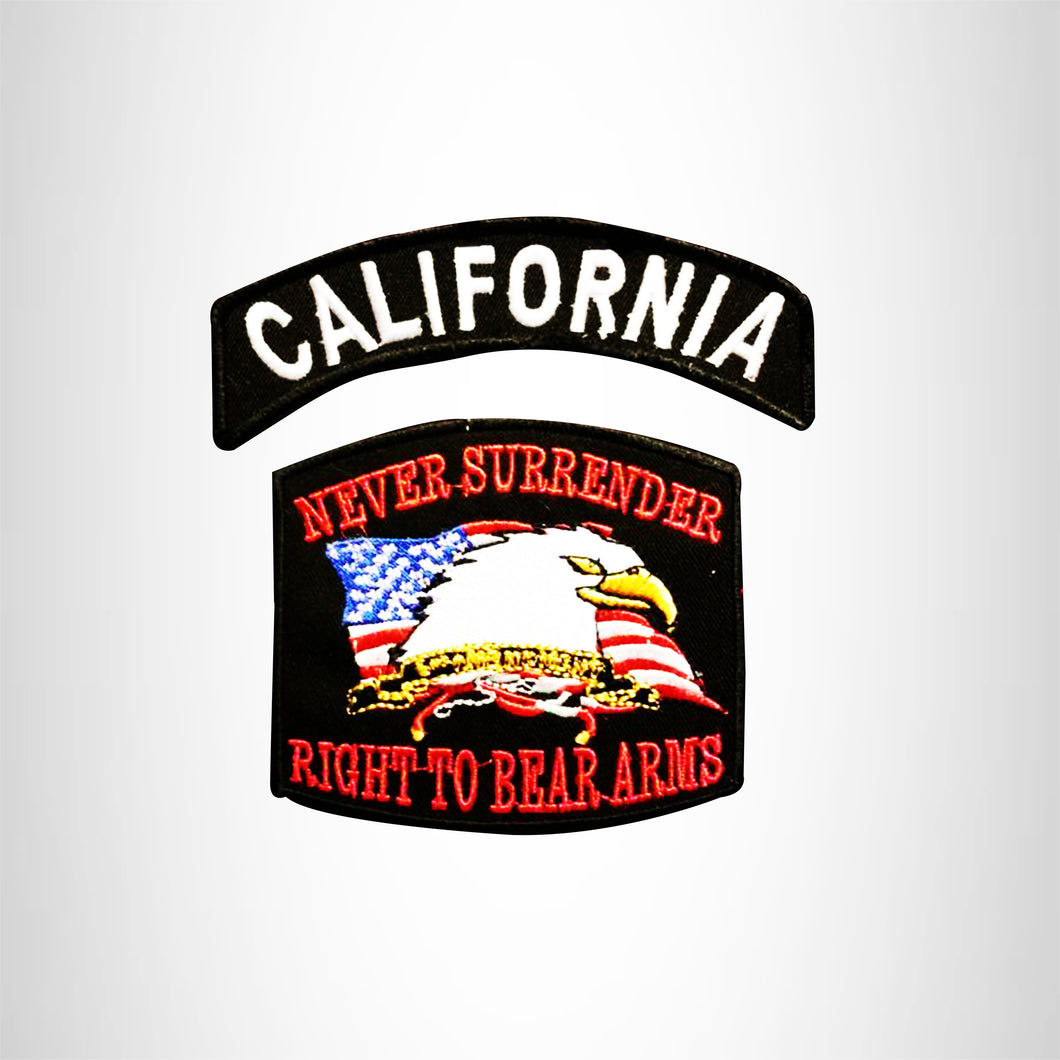 CALIFORNIA and NEVER SURRENDER Small Patches Set for Biker Vest