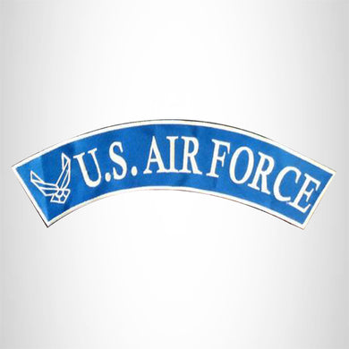 U.S Air Force White on Blue Border Iron on Top Rocker Patch for Biker Vest Jacket