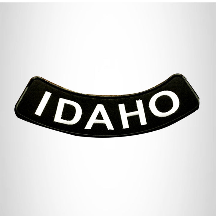 IDAHO White on Black Bottom Rocker Patches for Vest jacket BR374