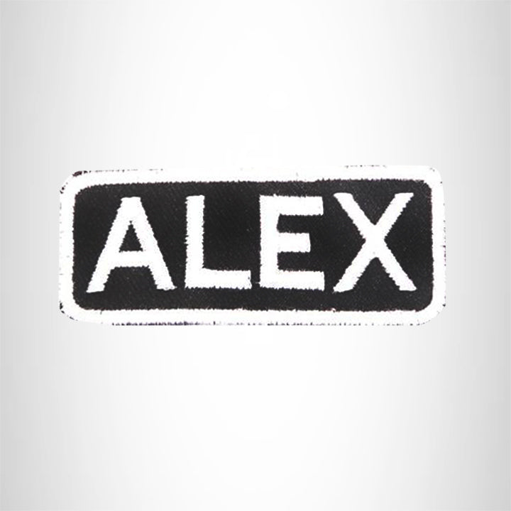 ALEX White on Black Iron on Name Tag Patch for Biker Vest NB197