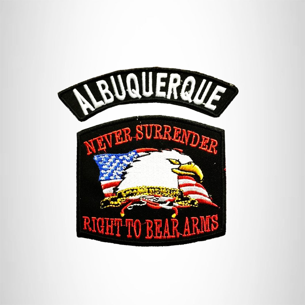 ALBUQUERQUE and NEVER SURRENDER Small Patches Set for Biker Vest