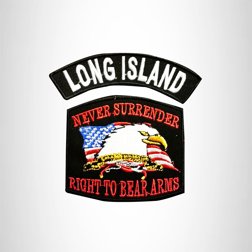 LONG ISLAND and NEVER SURRENDER Small Patches Set for Biker Vest