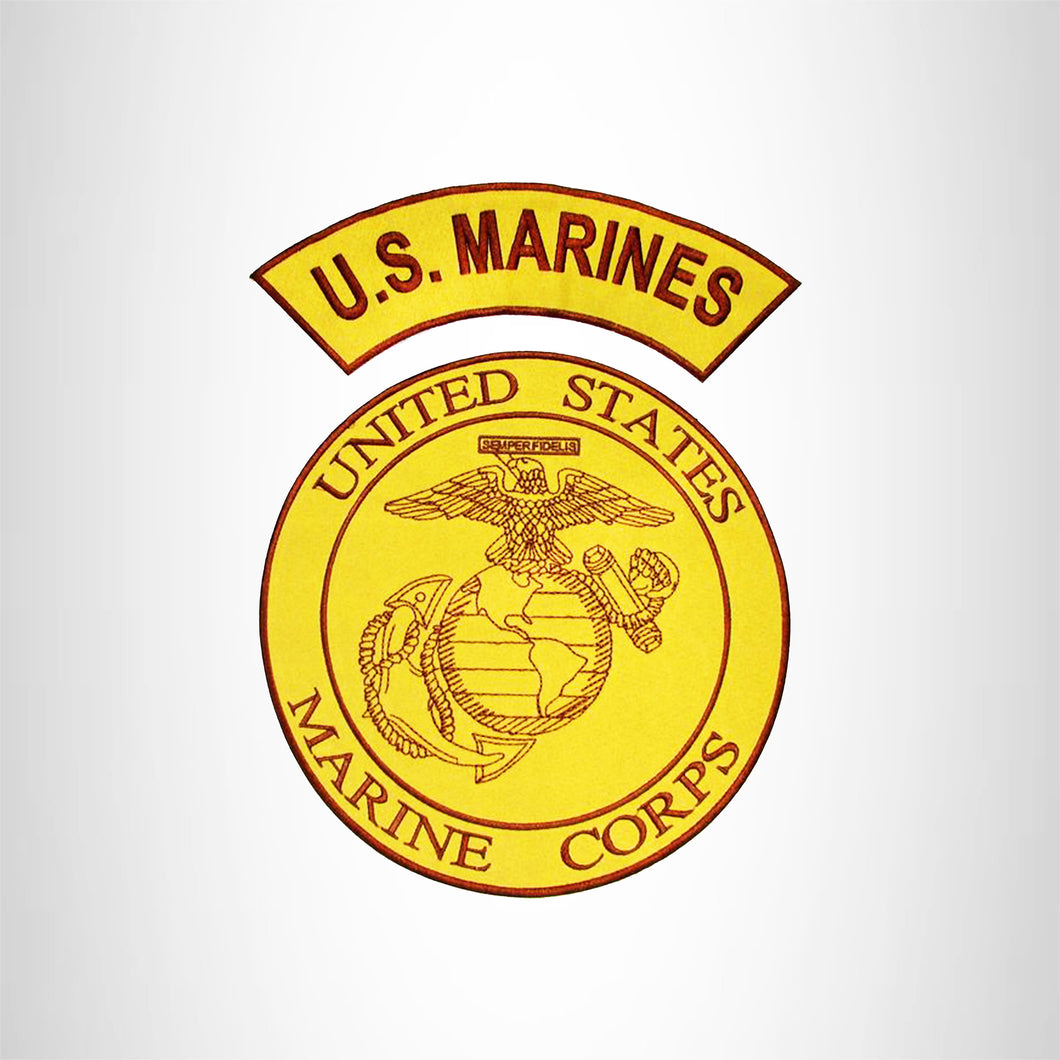 U.S.MARINES and MARINE CORPS 2 Patches Set Iron on for Biker Vest and Jacket