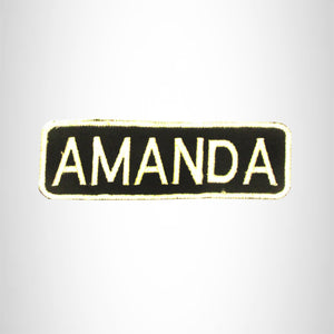 AMANDA White on Black Iron on Name Tag Patch for Biker Vest NB269