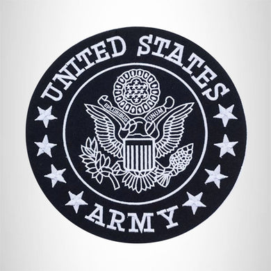 US Army Center Patch Circle United States Army Black w/ White 12