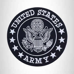 US Army Center Patch Circle United States Army Black w/ White 12""