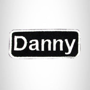 DANNY White on Black Iron on Name Tag Patch for Biker Vest NB210