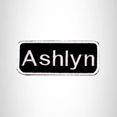 Ashlyn White on Black Iron on Name Tag Patch for Biker Vest NB107