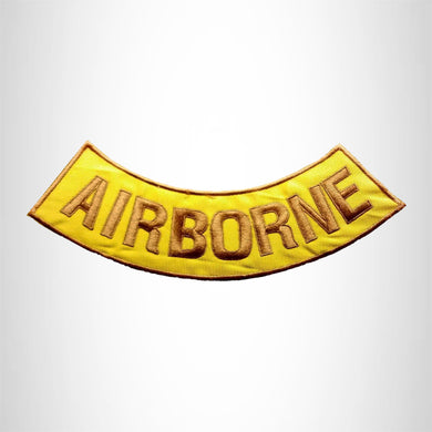 AIRBORNE Gold on Yellow with Boarder Bottom Rocker Patches for Vest jacket BR415
