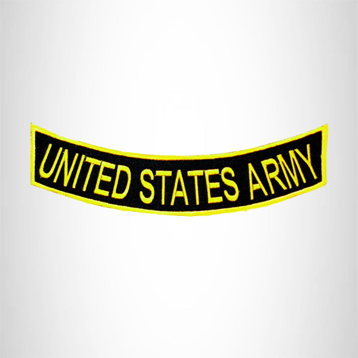 UNITED STATES ARMY Yellow on Black with Boarder Bottom Rocker Patch for Vest BR431