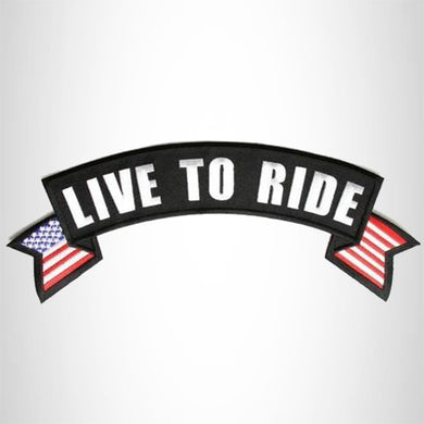 Live To Ride White on Black Banner Iron on Top Rocker Patch for Biker Vest Jacket