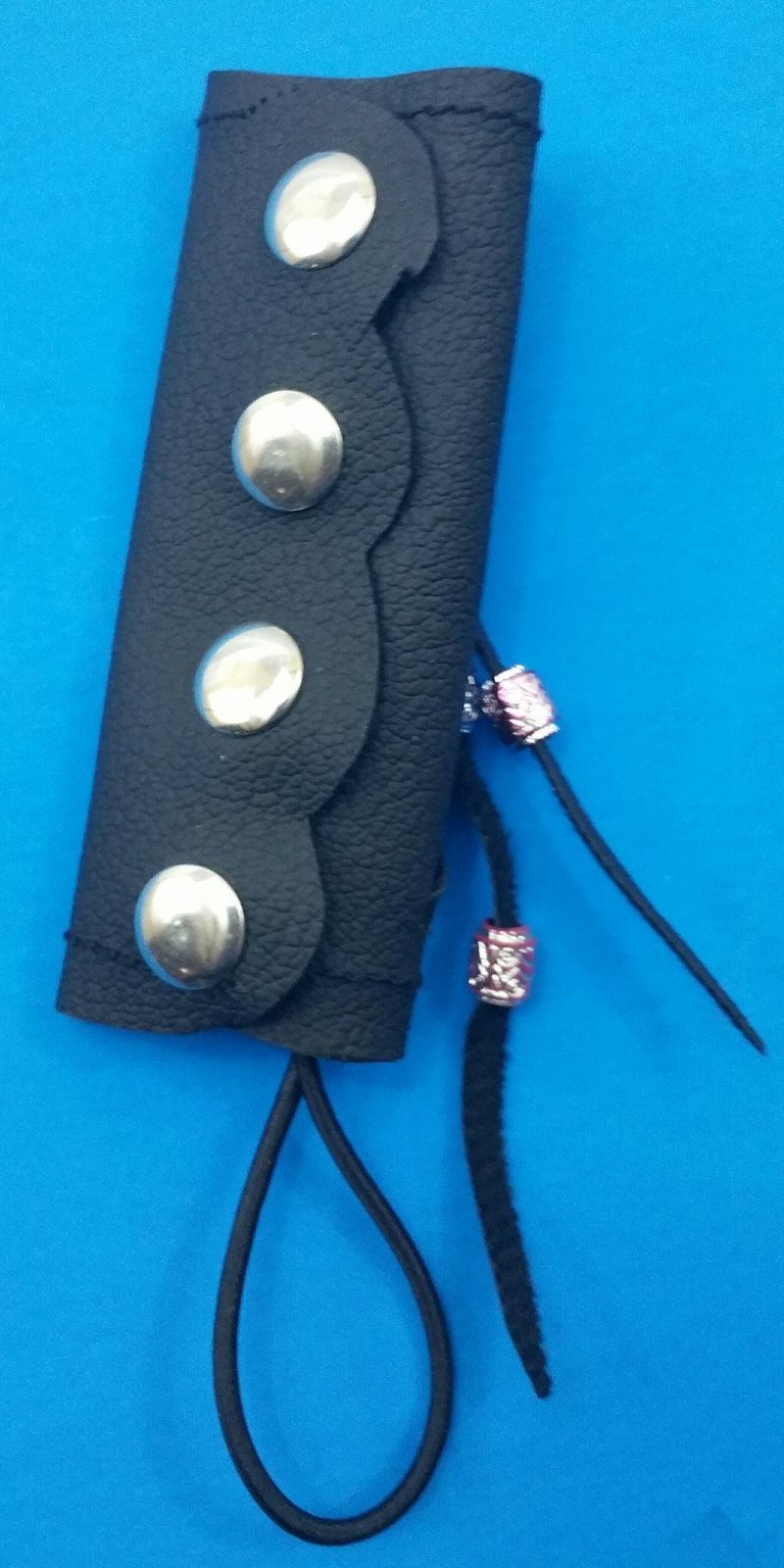 Leather pony tail wrap small with cross lace and beads-STURGIS MIDWEST INC.