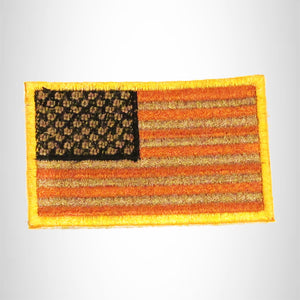 U.S Flag Orange Brown and Black with Gold Border Small Patch for Biker Vest SB790