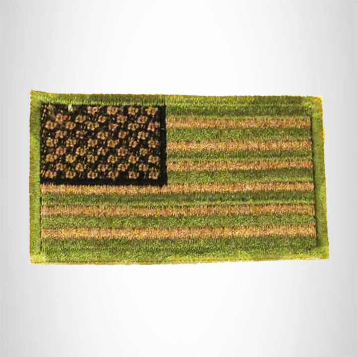 U.S Flag Green Brown and Black Small Patch Iron on for Biker Vest SB791