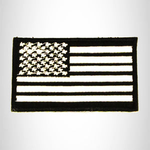 U.S Flag White on Black Small Patch Iron on for Biker Vest SB788