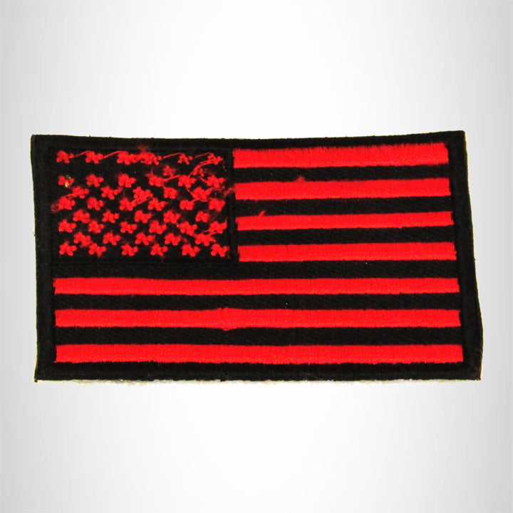 U.S Flag Red and Black Small Patch Iron on for Biker Vest SB786