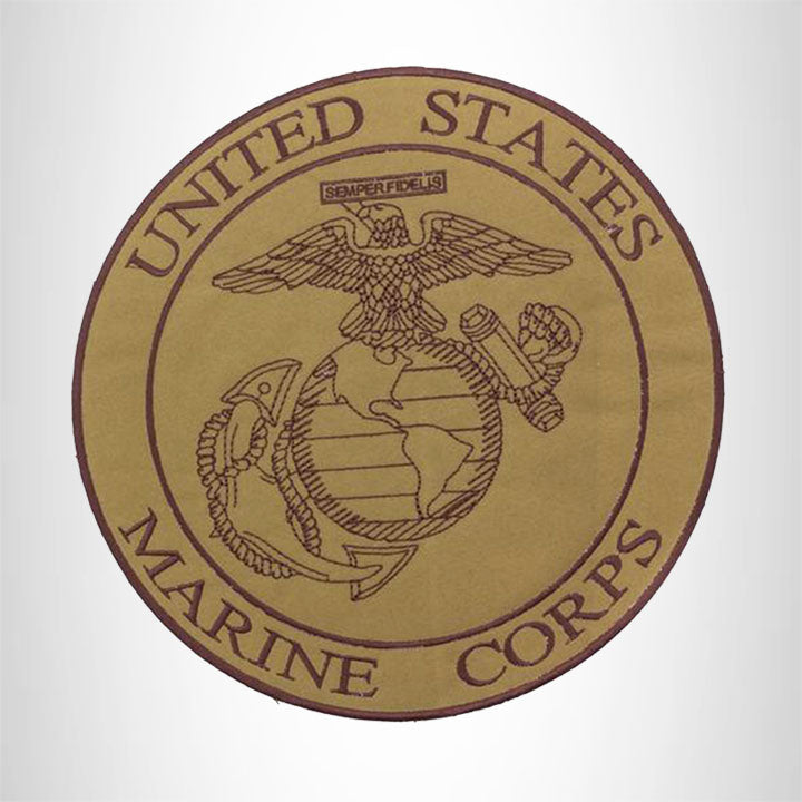 U.S Marine Corps Brown on Gold Center Patch Iron on for Biker Vest and Jacket