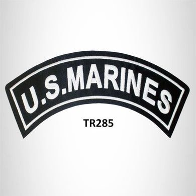 U.S MARINES White on Black Iron on Top Rocker Patch for Biker Vest Jacket