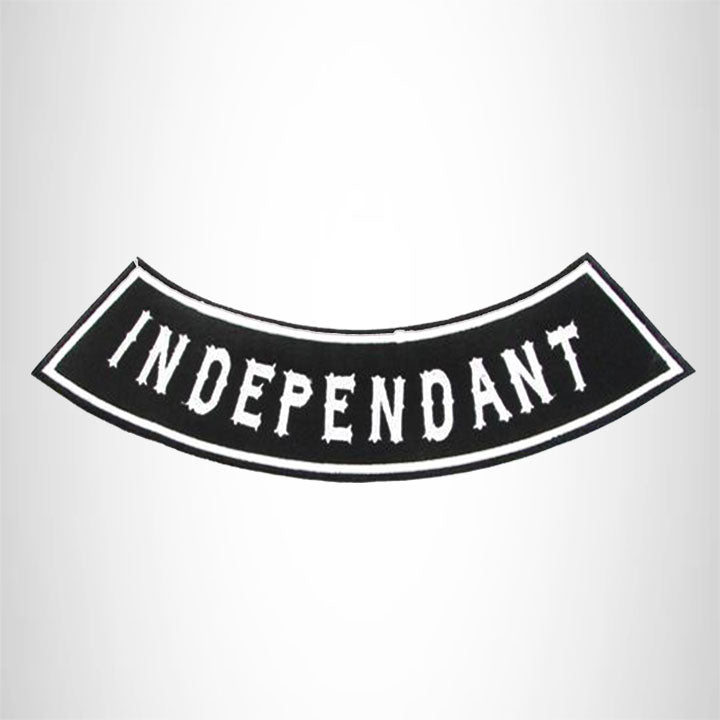 INDEPENDENT White on Black Bottom Rocker Iron on Patch for Biker Vest BR448