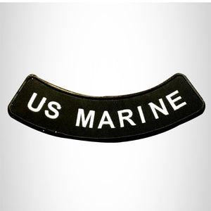 US MARINE White on Black Bottom Rocker Patches for Vest jacket BR377