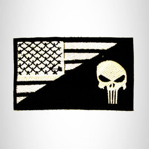 Punisher Flag White on Black Small Patch Sew on for Biker Vest SB769