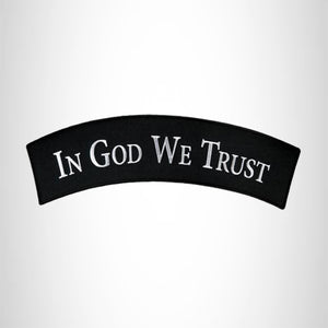 In God we Trust White on Black with Silver border Small Patch Iron on for Biker Vest SB767
